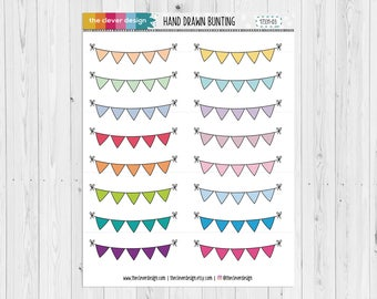 Hand Drawn Bunting | Bunting | Planner Stickers | 17331-03