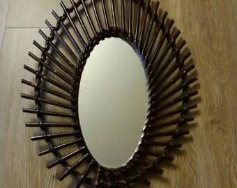 Vintage rattan Sun mirror