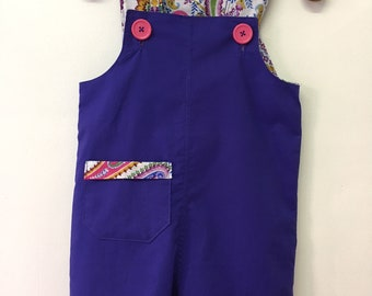 Size 2 Blue Shortalls/overalls with Paisley print and pink buttons 100% cotton