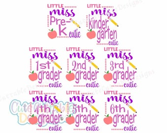 Little Miss 1st grader, 2nd grader, Pre-K School Grade SVG cuttable design Teacher Svg, Eps, DXf, Silhouette3, png and Reversed png Cut file