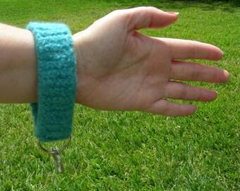 Key ring key chain key fob wristlet key loop blue aqua turquoise felted