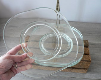 MCM Joe Colombo Clear Glass Dinner Plates - Set of 4 - Mid Century Modern Italian Dinner Plates - Italora Arno
