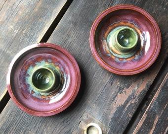 Candlestick Holders- Merlot & Green