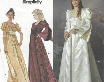 Womens Renaissance Dress and Vest Midieval Dress Simplicity Sewing Pattern 9045 Size 6 8 10 12 Bust 30 1/2 to 34 UnCut Festival Costumes