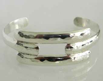Hand Hammered Sterling Silver RWMAC Cuff Bracelet
