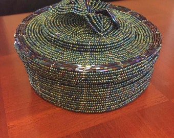 green and brown beaded basket