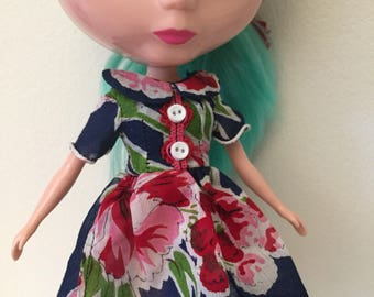 Navy Blue Floral Vintage Hankie Dress For Blythe