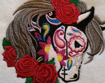 Embroidered Caballo Calavera, Day of the Dead, Dia de los Muertos, Horse, Sugar Skull, Patch