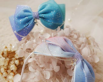 Blue/Purple Gradient Color Ribbon Bow Knot with Stars Twilight and Breaking Dawn Hair Band for BJD SD and MSD/YoSD Dolls 2 Colors Available