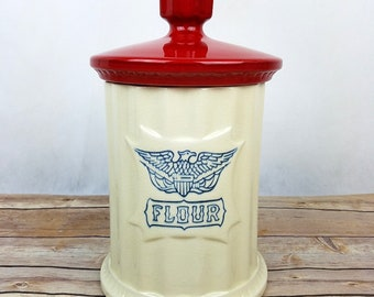 """Vintage Eagle Canister Flour Red Lid 12"""" Ceramic Mid Cent Modern Americana USA"""