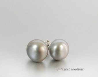 Silver Stud Earrings Gray Pearl Studs 8mm Pearl Earrings