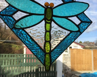 Stained Glass Dragonfly Window Hanging Mobile Handmade