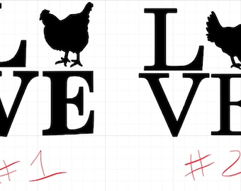 Love Chickens Decal - you choose color