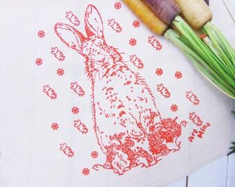 Carrot Bunny Long Flour Sack Towels, Screen Printed Tea Towel, Kitchen Towels, Tea Towel Flour Sack, Rabbit Illustration, cotton Dish towel