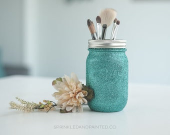 Turquoise Glitter Vase, Makeup Brush Holder, Aqua Decor