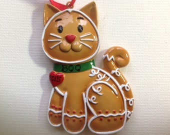 Personalized Gingerbread Cat Christmas Ornament- Kitty, Feline First Christmas