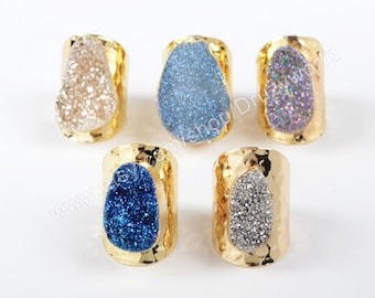 Wholesale Gold Plated Natural Agate Titanium Druzy Ring Champagne Silver Ring Freeform Brilliant Drusy Gemstone Geode Jewelry Ring G0890