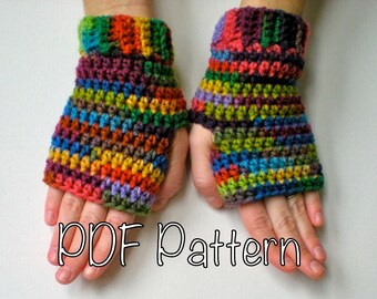PATTERN:  Rainbow Mitts, Fingerless Gloves,  EASY crochet PDF, wrist warmers, mittens striped, cuffed, InStAnT DoWnLoAd, Permssion to Sell