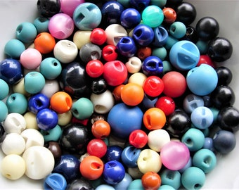Huge Colorful Lot of Various Vintage Plastic Ball Buttons