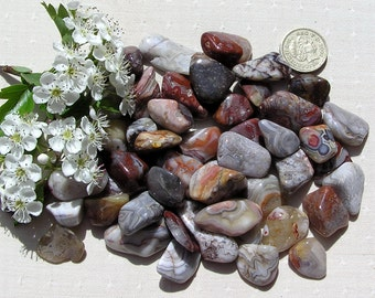 10 Crazy Lace Agate Crystal Tumblestones, Crystal Collection, Chakra Crystals, Gemini, Meditation Stone, Aura, Agate Crystaks, Evil Eye