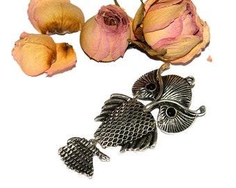 Articulated 86 mm Tibetan silver OWL pendant