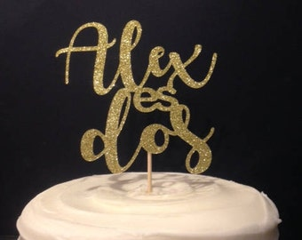 Dos / Second / Second Birthday Cake Topper with or without Name in Sparkling Glitter!