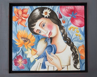 The Girl and the Bird - Original Watercolor Painting Artwork with wooden frame