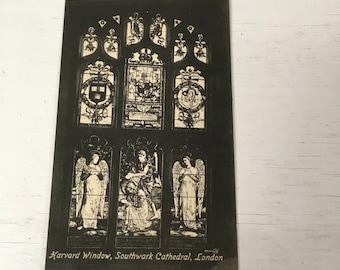 Harvard window at Southwark cathedral  valentines series circa 1900 unused postcard Black and white London england