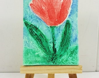 Red Tulip Watercolor Painting, Original Spring Garden Textured Miniature Canvas Art with Easel