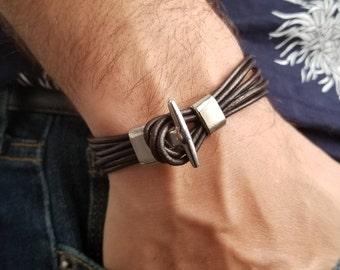 Men Leather Bracelet, Men Bracelet, Leather Bracelet, Brown Leather Bracelet, Multilayered Leather Bracelet, Men Brown Bracelet, Men Gift