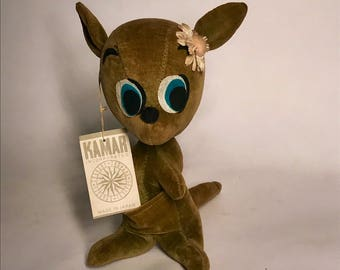 Vintage Kamar Kangaroo Plushie Stuffed Animal Toy 1960s With Tags NOS Japan Leslie Sawdust Stuffed