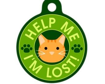Pet ID Tag - Help Me, I'm Lost - Orange Tiger Cat Pet Tag, Dog Tag, Cat Tag