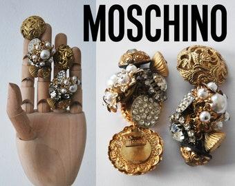 MOSCHINO vintage earrings pressure vintage earrings, 1980s Moschino vintage earrings, Italian earrings.