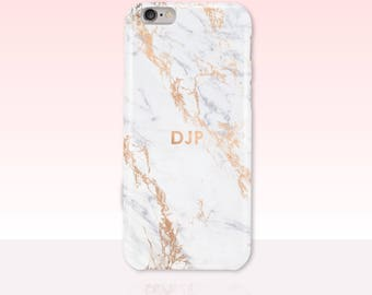 Custom Initials Rose Gold Marble Phone Case -  iPhone 7/7 Plus, iPhone 6 Plus/6S Plus, iPhone 5/5S, iPhone SE, Samsung Galaxy S7, S6, S5, S4