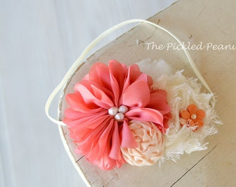 Vintage Shabby Chic Coral Ivory Baby  Bow Flower Headband Hairband ~ newborn, toddler infant babies girl 1st first birthday cake smash