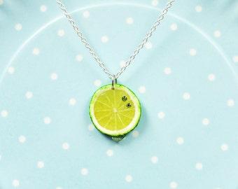 Mini Sliced Lemon Necklace - Lemon Slice Necklace - Miniature Lime Jewelry - Fruit Necklace - Yellow Necklace - Miniature Food Necklace