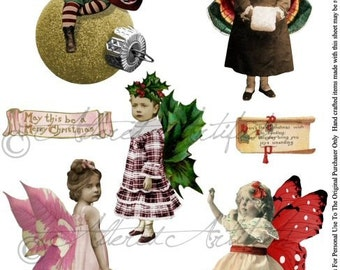 Printable Christmas Fairy Fairies Sprites Printable Vintage Christmas Dolls Printable Christmas Ornaments Digital Collage Sheet Download