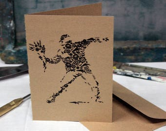 Banksy Greeting Card Screen Printed by Hand.