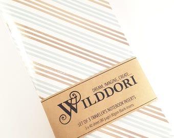Wilddori 'Star Gazing' Travelers Notebook Journal Insert, Set of 3 Regular Size, Midori Style.
