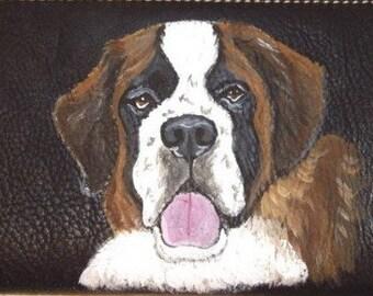 Saint Bernard Dog Custom Painted Ladies Leather Wallet