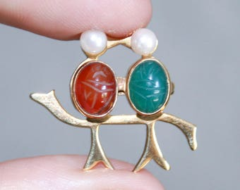 Scarab Pearl Kissing Bird Brooch