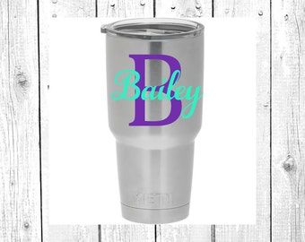 Name Decal | Monogram Name Decal | Monogram Decal | Yeti Cup Decal | Personalized Sticker | Custom Decal | Car Decal | Vinyl Decal