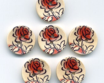 Red Rose Buttons Decorated Wooden Buttons 15mm (5/8 inch) Set of 12/BT42