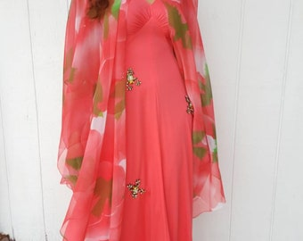 Harold and Maude long salmon color maxi dress with float rhinestone frogs from RCMooreVintage FREE SHIPPING
