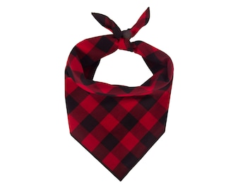 Buffalo Plaid Dog Bandana, Red Buffalo Plaid Dog Bandana, Personalized Dog Bandana, Dog Collar, Dog Scarf, Dog Clothes, New Puppy Dog Gift