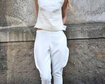 Linen top / Linen summer top / Crop top / Short top / Sleeveless top / Handmade top / Linen blouse