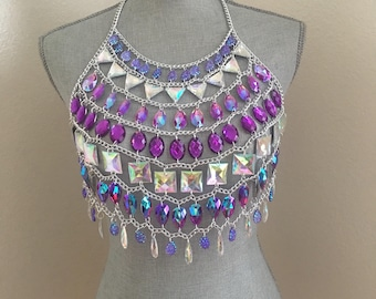 Silver purple  Body chain necklace, Rave body chain Rave wear made to order , Chain bra