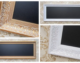 "LONG FRAMED Magnetic Chalkboard 42""x17"" Framed Chalk board French Country Home Rectangular Framed Chalk board Office Organizer"
