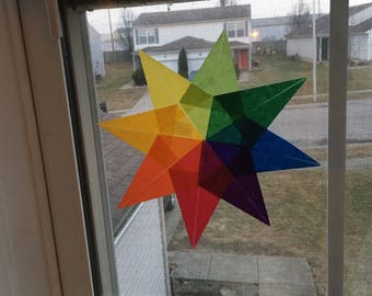 Rainbow Waldorf Window Star