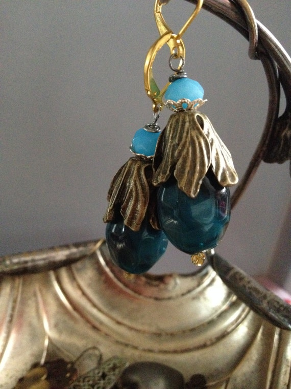 """Dangle Earrings """"Flower petals Drops"""" collection Vintage assemblage Repurposed, Art Deco, Vintage beads, Crystals, Pear, lucite, gemstones"""